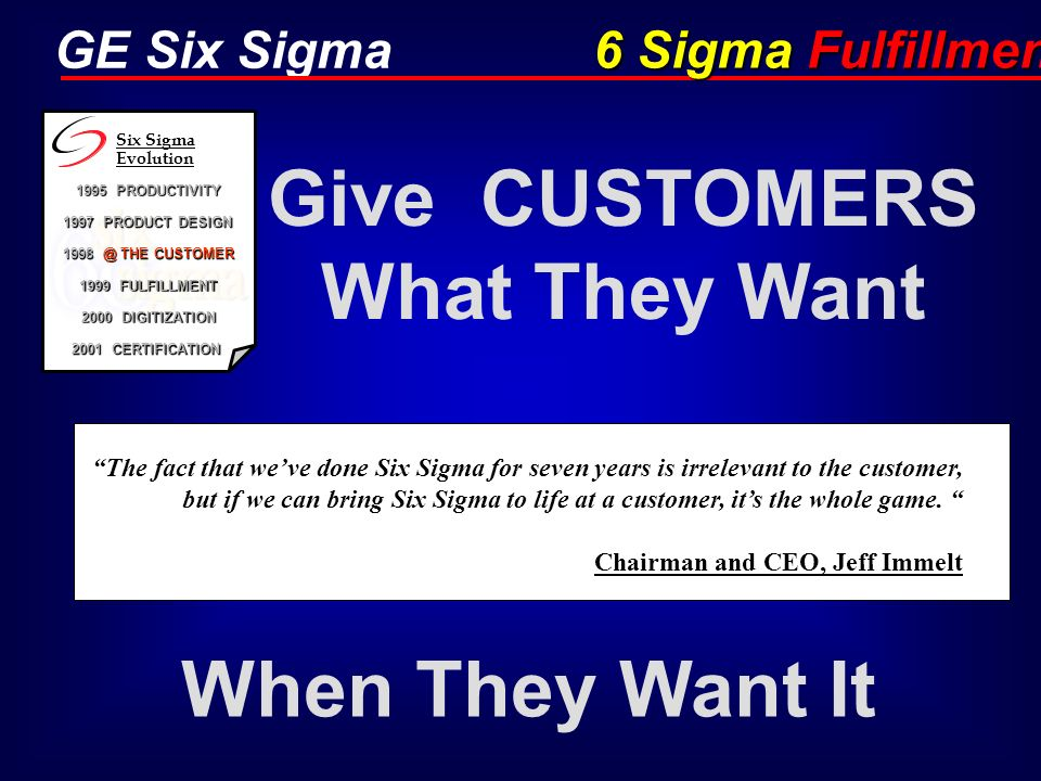GE Six Sigma Give CUSTOMERS What They Want When They Want It 6 Sigma Fulfillment The fact that weve done Six Sigma for seven years is irrelevant to th