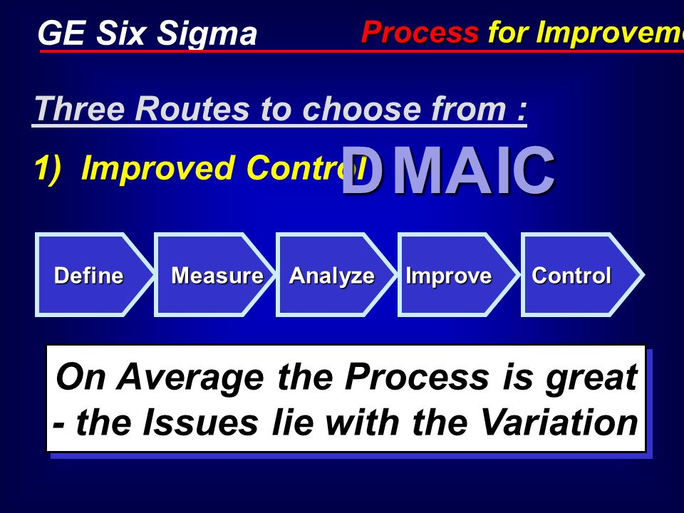 GE Six Sigma Three Routes to choose from : 1) Improved Control Define D Measure M Analyze A Improve I Control C Process for Improvement On Average the