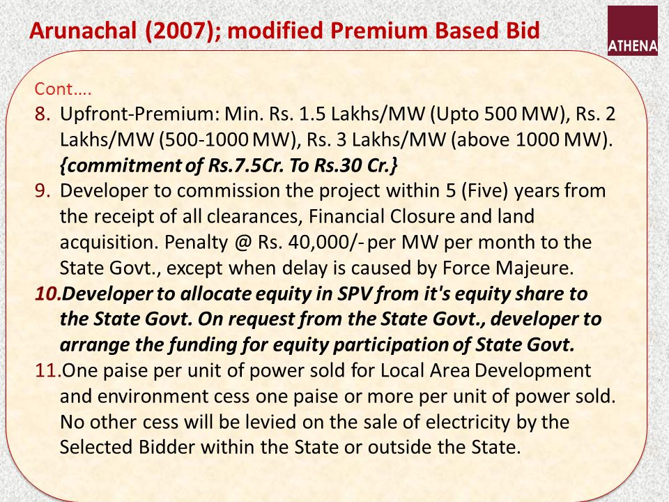 Cont…. 8.Upfront-Premium: Min. Rs. 1.5 Lakhs/MW (Upto 500 MW), Rs.