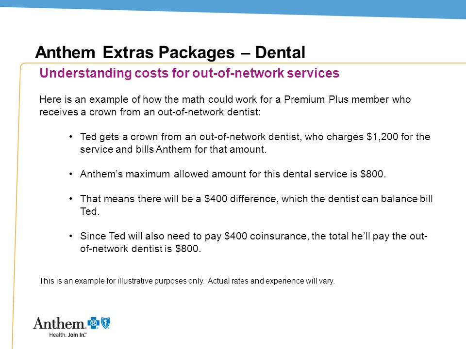 13 Anthem Extras Packages – Dental Understanding costs for out-of-network services Here is an example of how the math could work for a Premium Plus me