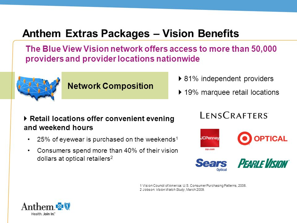 19 Anthem Extras Packages – Vision Benefits Retail locations offer convenient evening and weekend hours 25% of eyewear is purchased on the weekends 1