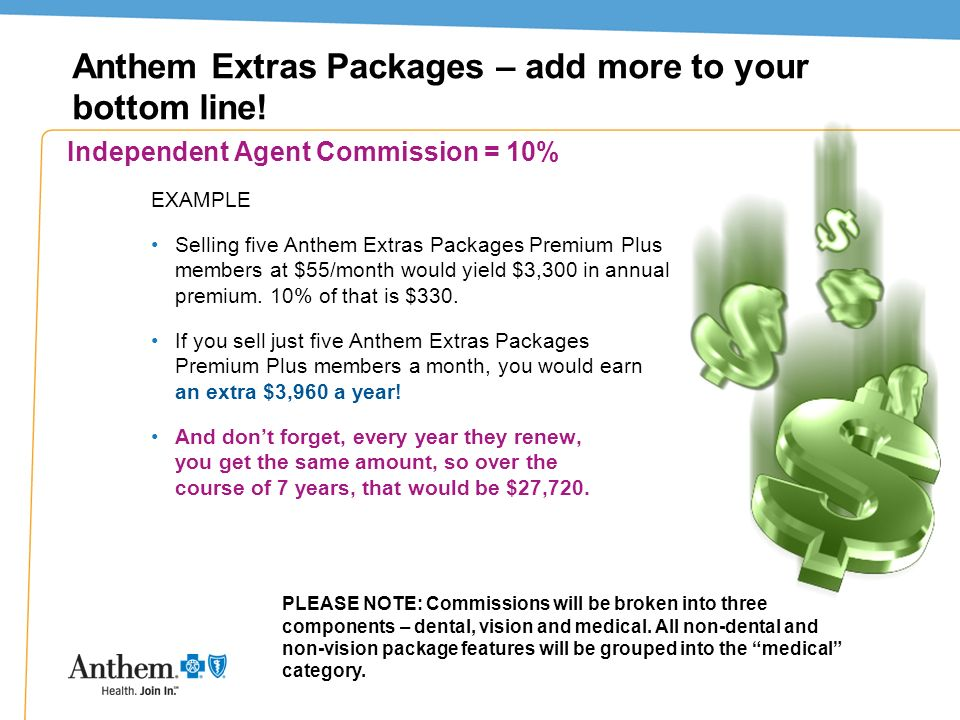 37 Anthem Extras Packages – add more to your bottom line! Independent Agent Commission = 10% EXAMPLE Selling five Anthem Extras Packages Premium Plus