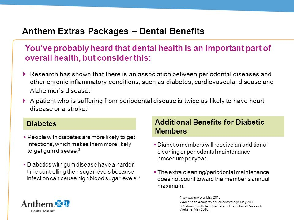 9 Anthem Extras Packages – Dental Benefits Research has shown that there is an association between periodontal diseases and other chronic inflammatory