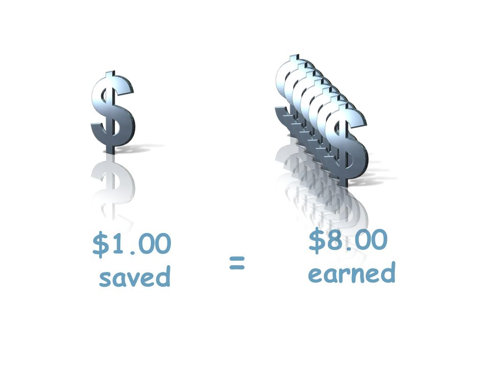 $8.00 earned = $1.00 saved