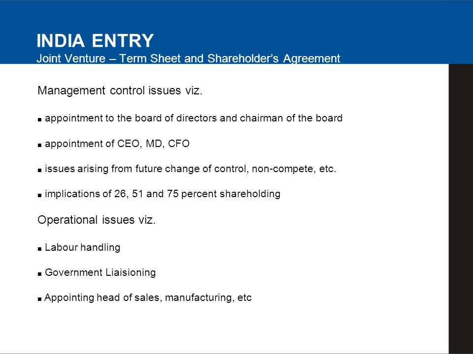 Management control issues viz.