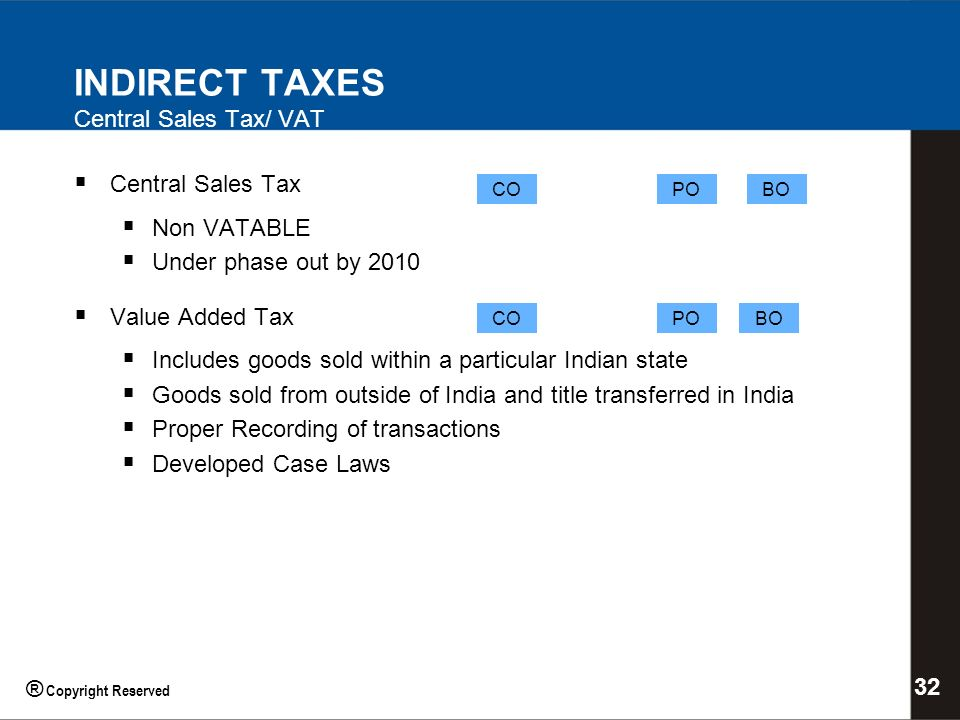 INDIRECT TAXES Central Sales Tax/ VAT Central Sales Tax Non VATABLE Under phase out by 2010 Value Added Tax Includes goods sold within a particular Indian state Goods sold from outside of India and title transferred in India Proper Recording of transactions Developed Case Laws COPOBO COPOBO 32 ® Copyright Reserved