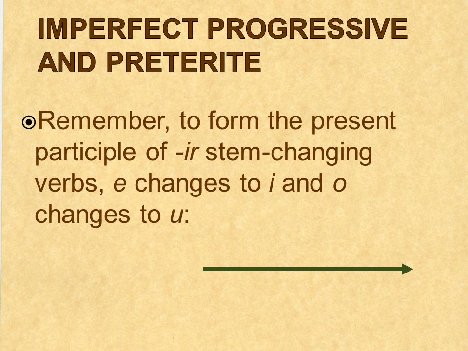 Remember, to form the present participle of -ir stem-changing verbs, e changes to i and o changes to u: