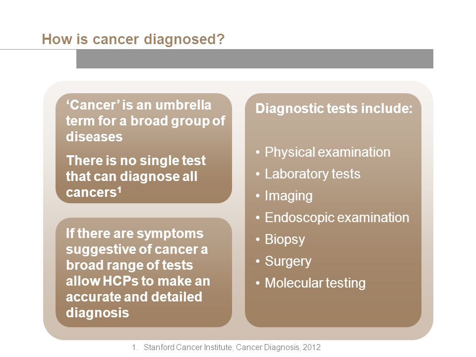 Diagnostic tests include: Physical examination Laboratory tests Imaging Endoscopic examination Biopsy Surgery Molecular testing How is cancer diagnosed.