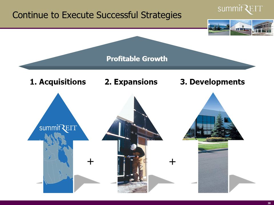 30 Continue to Execute Successful Strategies Profitable Growth 1.