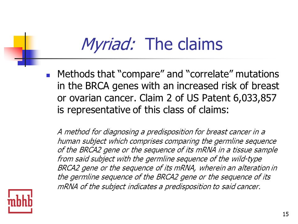 15 Myriad: The claims Methods that compare and correlate mutations in the BRCA genes with an increased risk of breast or ovarian cancer.