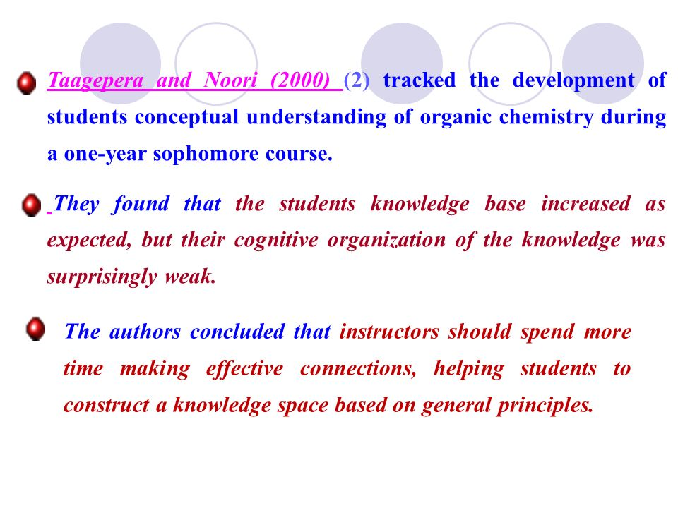 Taagepera and Noori (2000) (2) tracked the development of students conceptual understanding of organic chemistry during a one-year sophomore course. T
