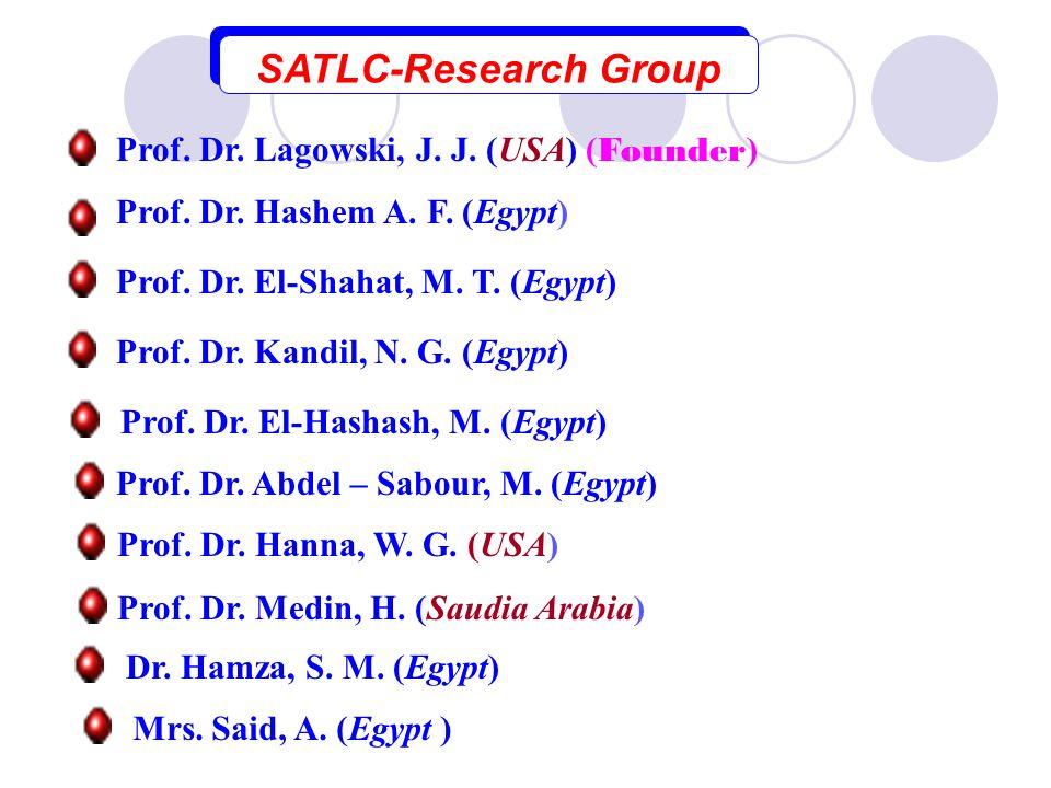 SATLC-Research Group Prof. Dr. Hashem A. F. (Egypt) Prof. Dr. El-Shahat, M. T. (Egypt) ) Mrs. Said, A. (Egypt Dr. Hamza, S. M. (Egypt) Prof. Dr. Hanna