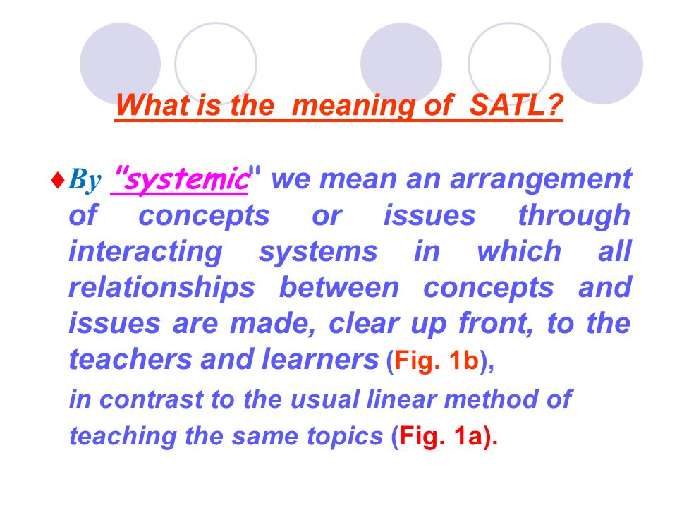 *SATLC Helping students to see the pattern of pure and applied chemistry rather than isolated concepts, and facts.