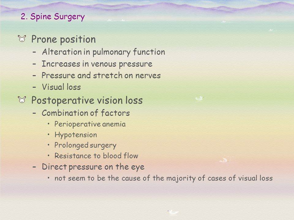 Prone position –Alteration in pulmonary function –Increases in venous pressure –Pressure and stretch on nerves –Visual loss Postoperative vision loss