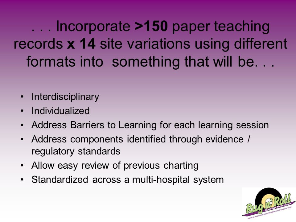 ... Incorporate >150 paper teaching records x 14 site variations using different formats into something that will be... Interdisciplinary Individualiz