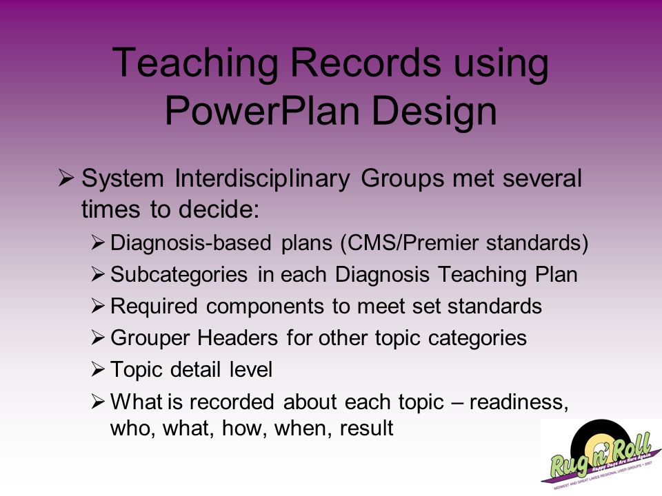 Teaching Records using PowerPlan Design System Interdisciplinary Groups met several times to decide: Diagnosis-based plans (CMS/Premier standards) Sub