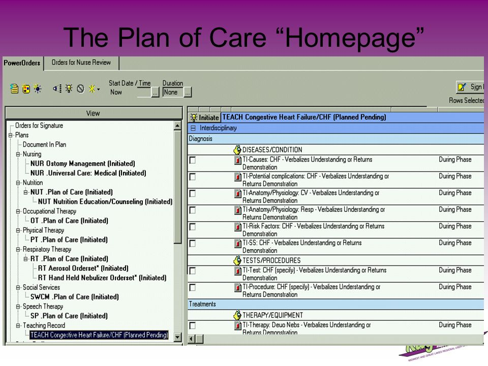 The Plan of Care Homepage