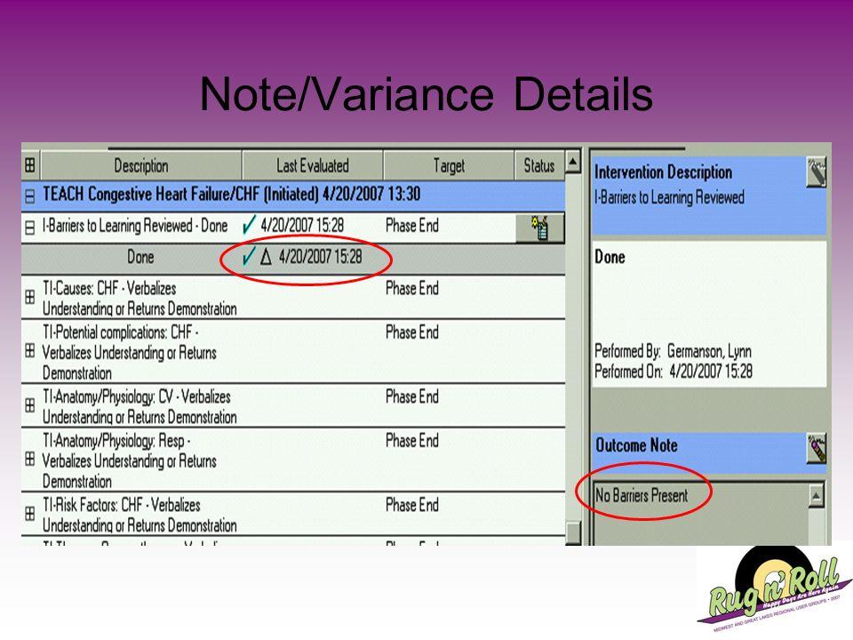 Note/Variance Details