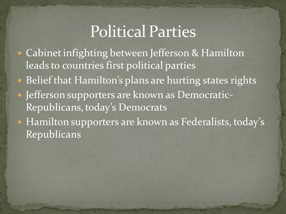 Cabinet infighting between Jefferson & Hamilton leads to countries first political parties Belief that Hamiltons plans are hurting states rights Jeffe