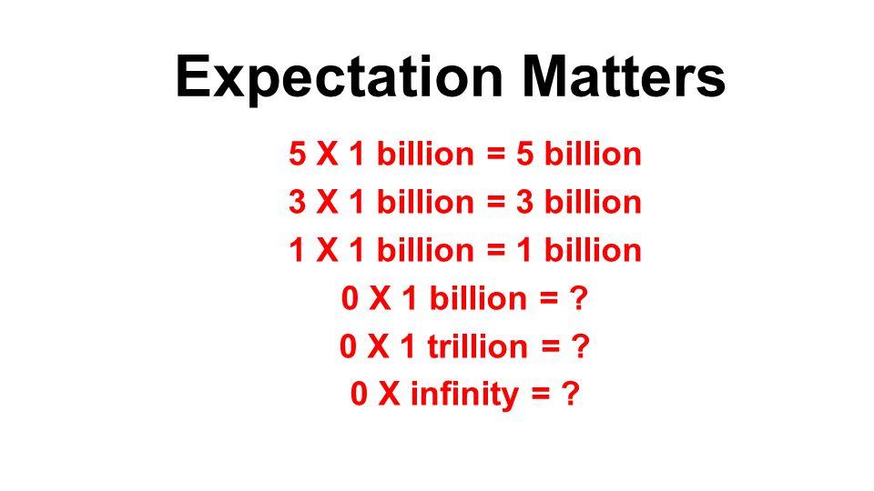 Expectation Matters 5 X 1 billion = 5 billion 3 X 1 billion = 3 billion 1 X 1 billion = 1 billion 0 X 1 billion = ? 0 X 1 trillion = ? 0 X infinity =