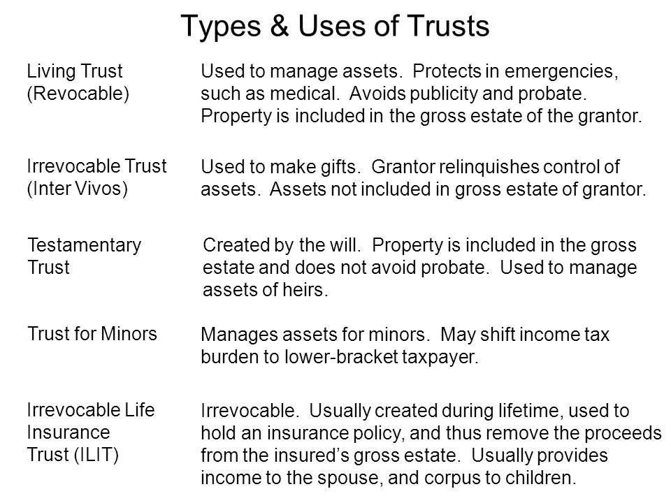 Used to manage assets. Protects in emergencies, such as medical. Avoids publicity and probate. Property is included in the gross estate of the grantor