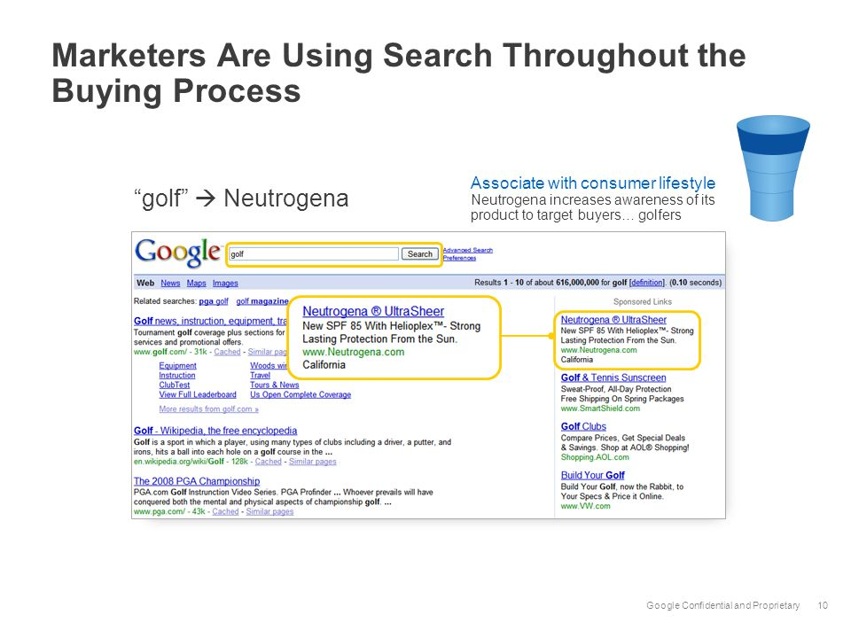 Google Confidential and Proprietary10 Marketers Are Using Search Throughout the Buying Process Associate with consumer lifestyle Neutrogena increases