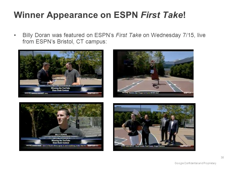 Google Confidential and Proprietary Winner Appearance on ESPN First Take! Billy Doran was featured on ESPNs First Take on Wednesday 7/15, live from ES