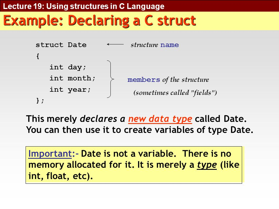 Lecture 19: Using structures in C Language Defining a Structure Variable Syntax :- ;Examples: Date birthday; creates a variable called birthday of type Date.