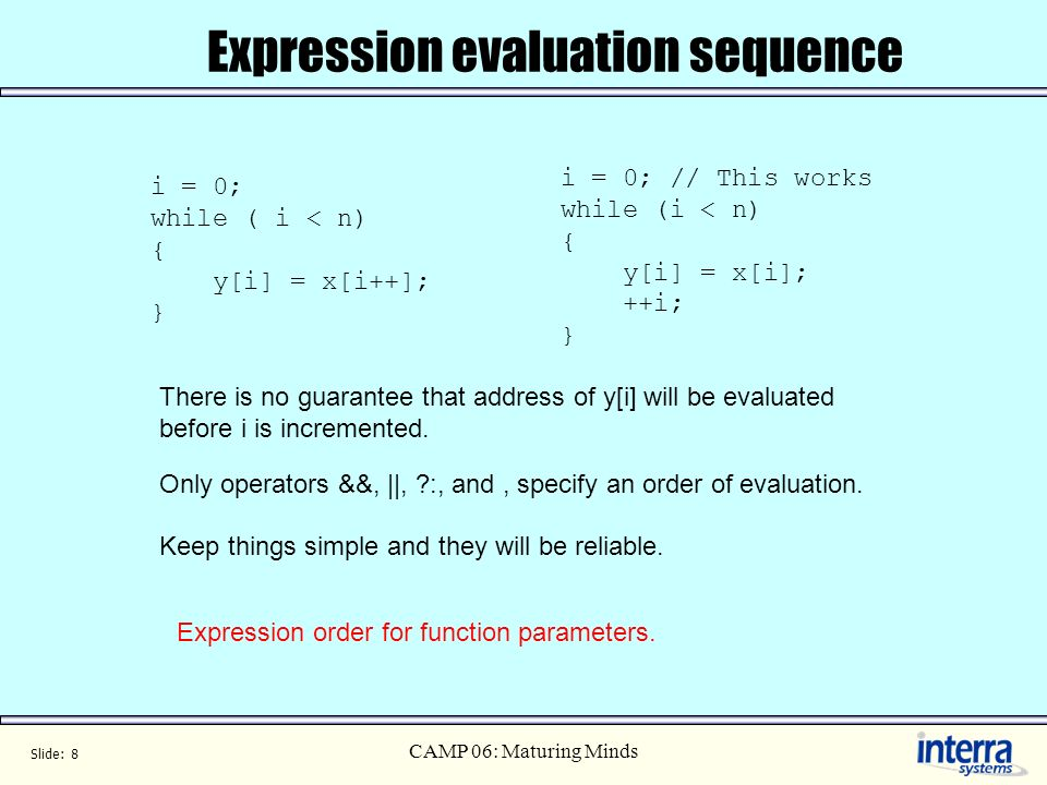 Slide: 8 CAMP 06: Maturing Minds Expression evaluation sequence i = 0; while ( i < n) { y[i] = x[i++]; } There is no guarantee that address of y[i] will be evaluated before i is incremented.