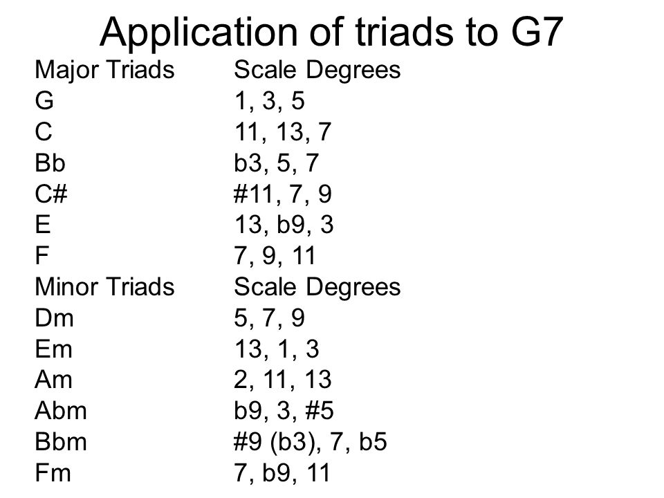 Application of triads to G7 Major TriadsScale Degrees G1, 3, 5 C11, 13, 7 Bbb3, 5, 7 C##11, 7, 9 E13, b9, 3 F7, 9, 11 Minor TriadsScale Degrees Dm5, 7