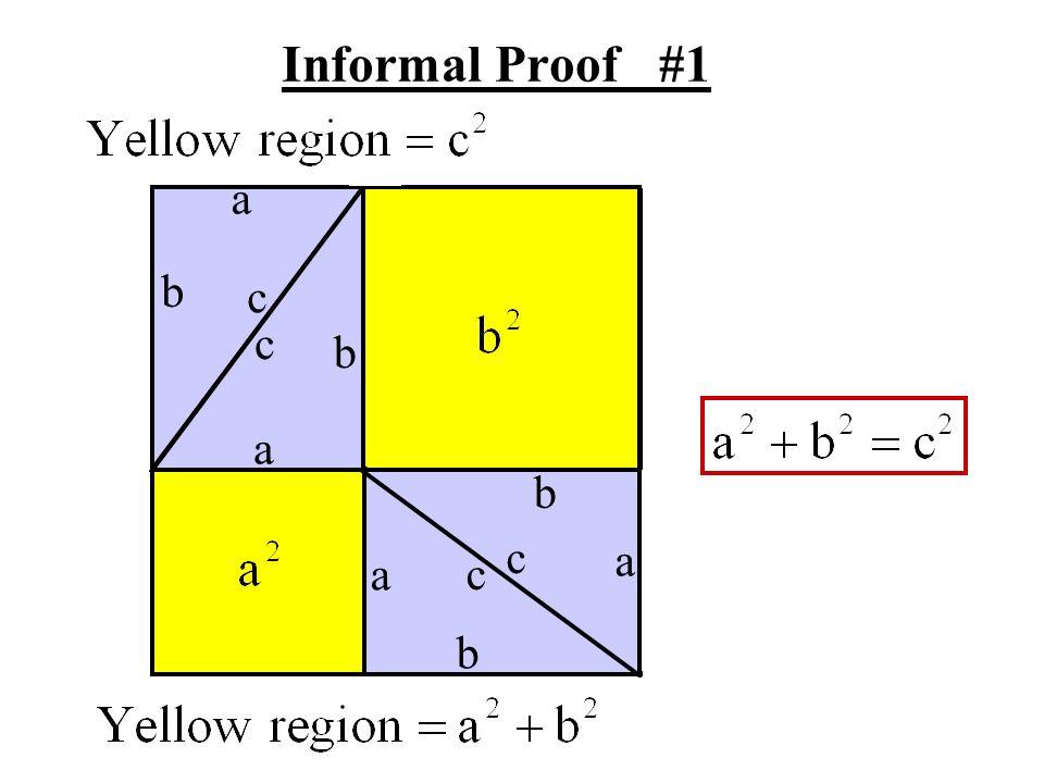 a b a a a b b b c c c c Informal Proof #2 a + b Total Purple Yellow Area Area Area - = - =