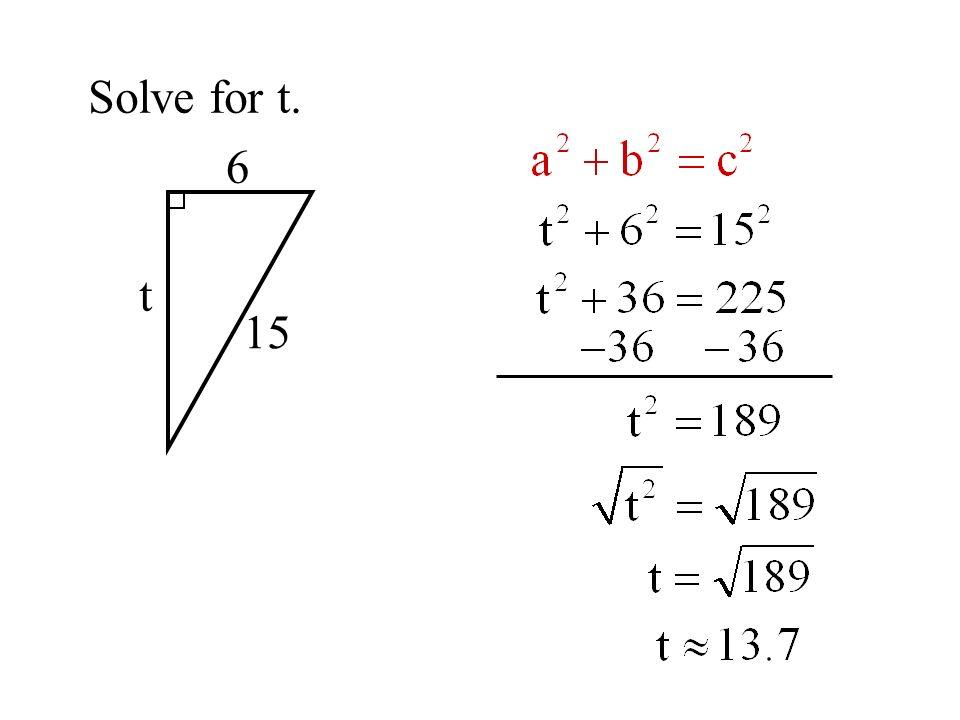 Pythagorean Triples 3 4 5 6 8 10 9 12 15 12 16 20