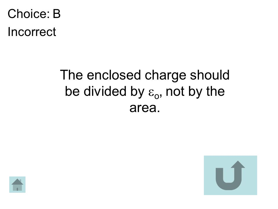 Choice: B Incorrect The enclosed charge should be divided by o, not by the area.