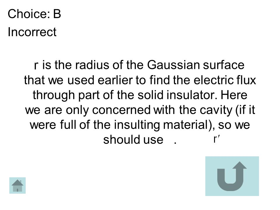 is the radius of the Gaussian surface that we used earlier to find the electric flux through part of the solid insulator. Here we are only concerned w