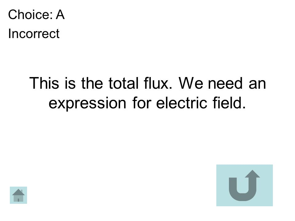 This is the total flux. We need an expression for electric field. Choice: A Incorrect