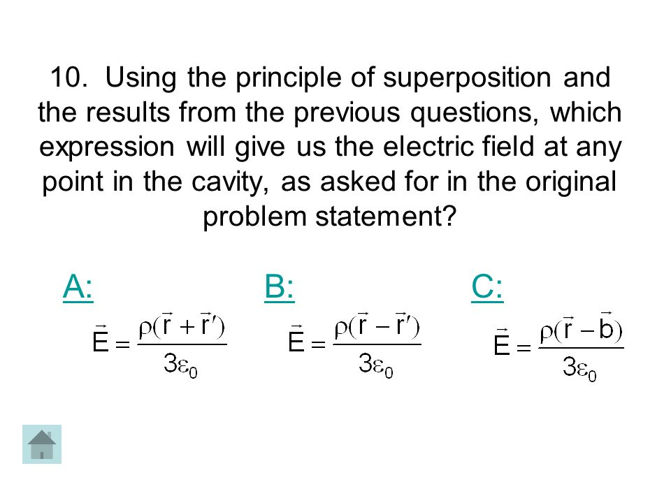 10. Using the principle of superposition and the results from the previous questions, which expression will give us the electric field at any point in