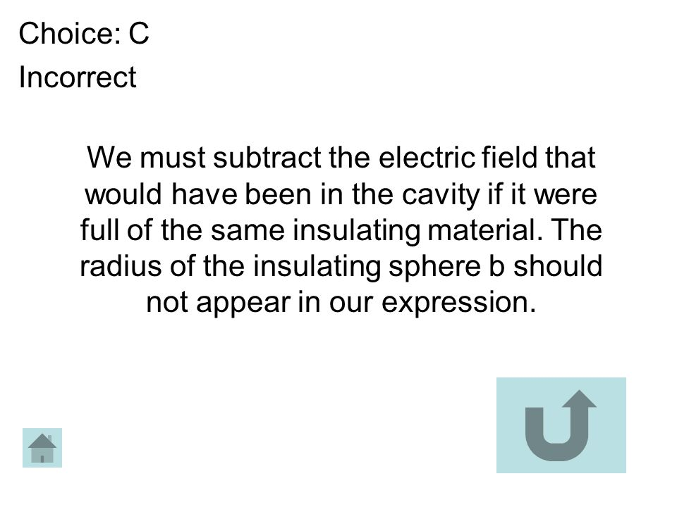 Choice: C Incorrect We must subtract the electric field that would have been in the cavity if it were full of the same insulating material. The radius
