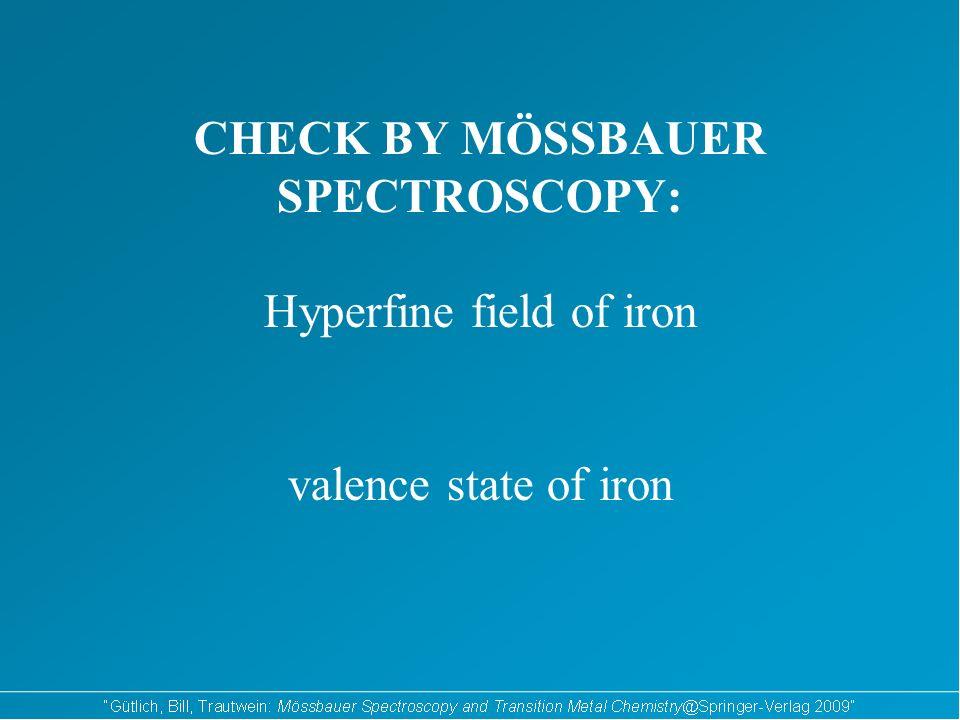 CHECK BY MÖSSBAUER SPECTROSCOPY: Hyperfine field of iron valence state of iron