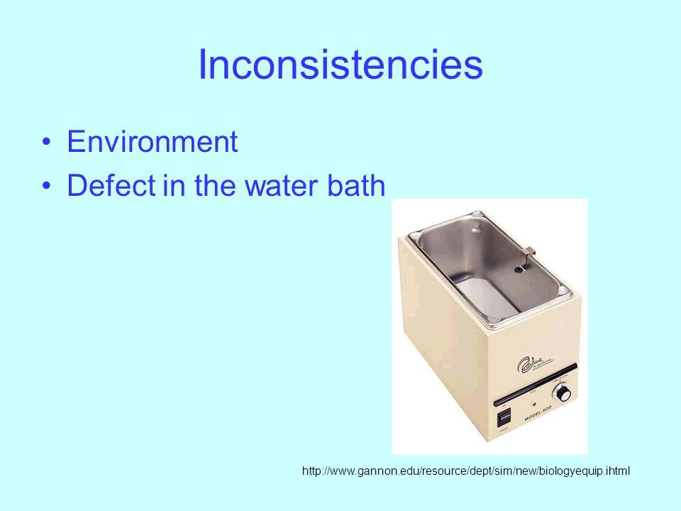 Inconsistencies Environment Defect in the water bath http://www.gannon.edu/resource/dept/sim/new/biologyequip.ihtml