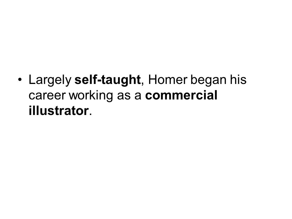 Homer s studio In 1859, he opened a studio in the Tenth Street Studio Building in New York City, the artistic and publishing capital of the United States.Tenth Street Studio BuildingNew York City Until 1863 he attended classes at the National Academy of Design, and studied briefly with Frédéric Rondel, who taught him the basics of painting.