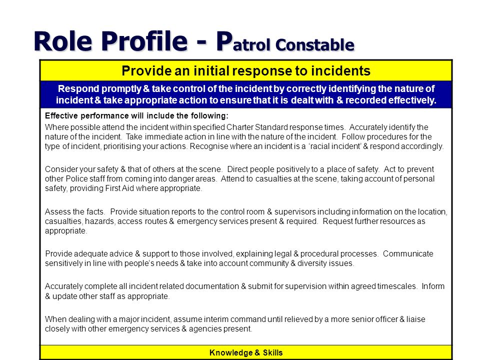 Role Profile - P atrol Constable Provide an initial response to incidents Respond promptly & take control of the incident by correctly identifying the