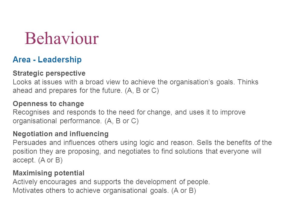 Behaviour Area - Leadership Strategic perspective Looks at issues with a broad view to achieve the organisations goals. Thinks ahead and prepares for