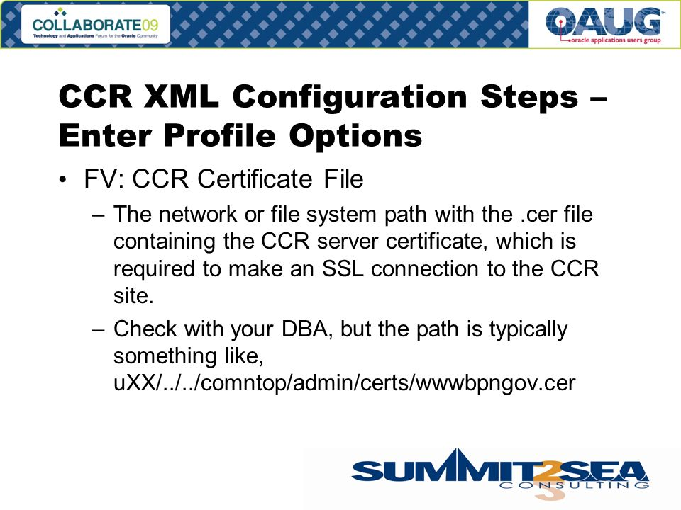 CCR XML Configuration Steps – Enter Profile Options FV: CCR Certificate File –The network or file system path with the.cer file containing the CCR server certificate, which is required to make an SSL connection to the CCR site.