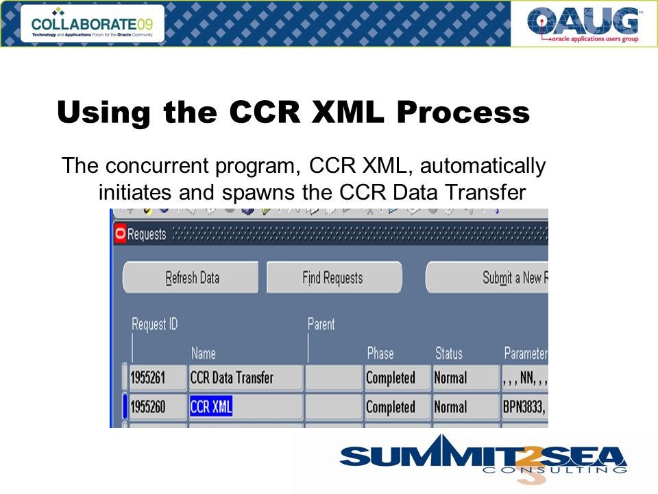 The concurrent program, CCR XML, automatically initiates and spawns the CCR Data Transfer