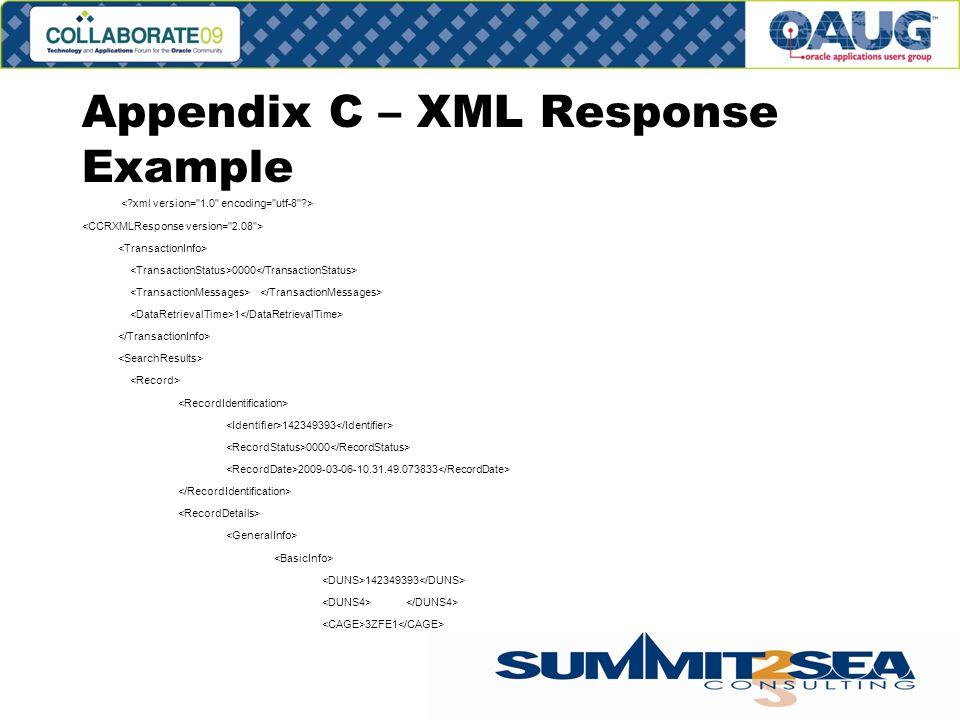 Appendix C – XML Response Example 0000 1 142349393 0000 2009-03-06-10.31.49.073833 142349393 3ZFE1