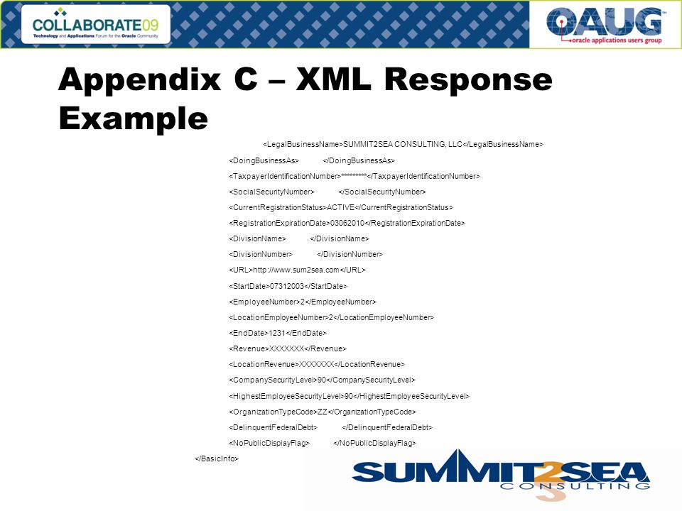 Appendix C – XML Response Example SUMMIT2SEA CONSULTING, LLC ********* ACTIVE XXXXXXX 90 ZZ