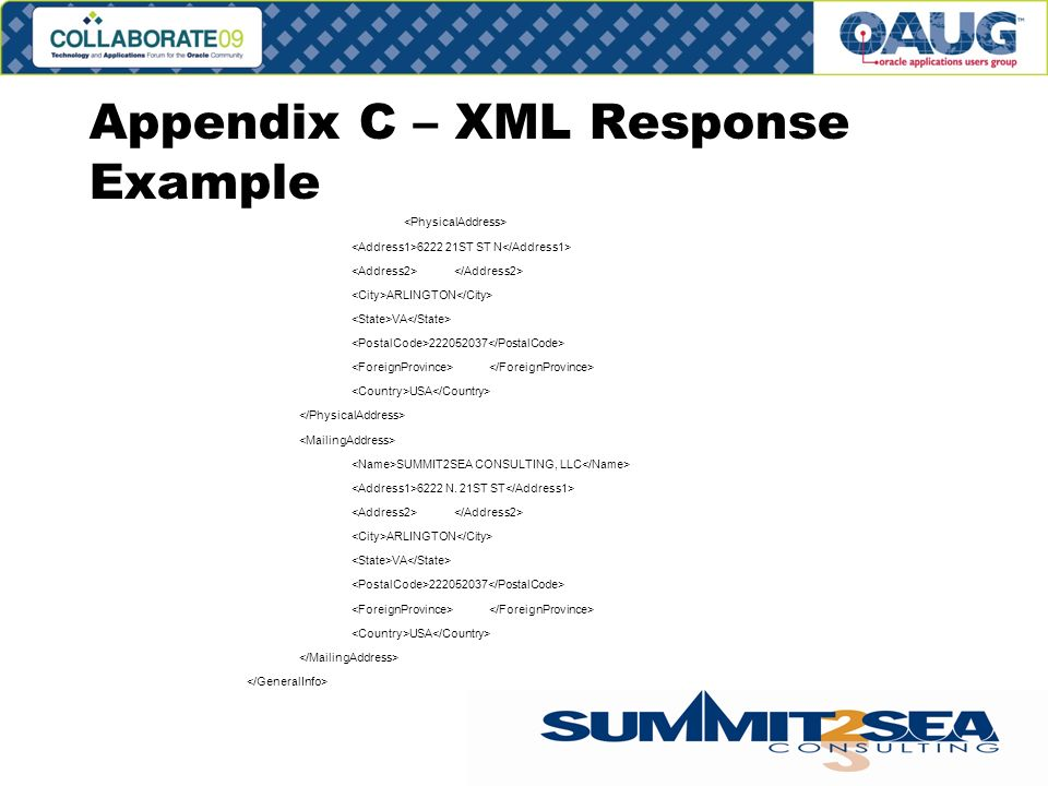 Appendix C – XML Response Example 6222 21ST ST N ARLINGTON VA 222052037 USA SUMMIT2SEA CONSULTING, LLC 6222 N.