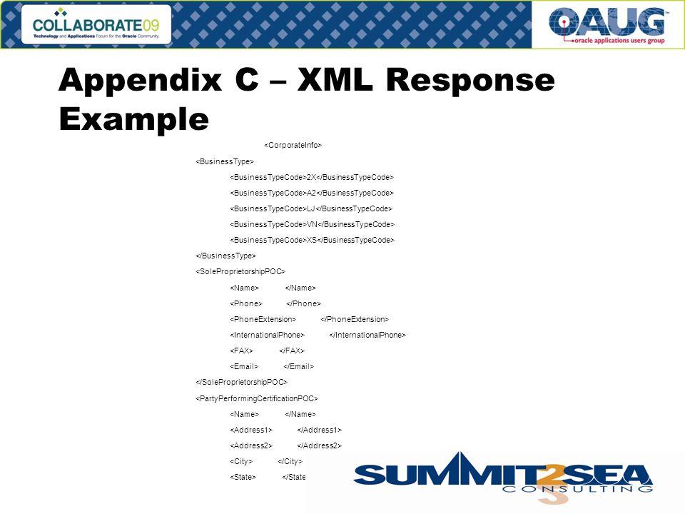 Appendix C – XML Response Example 2X A2 LJ VN XS