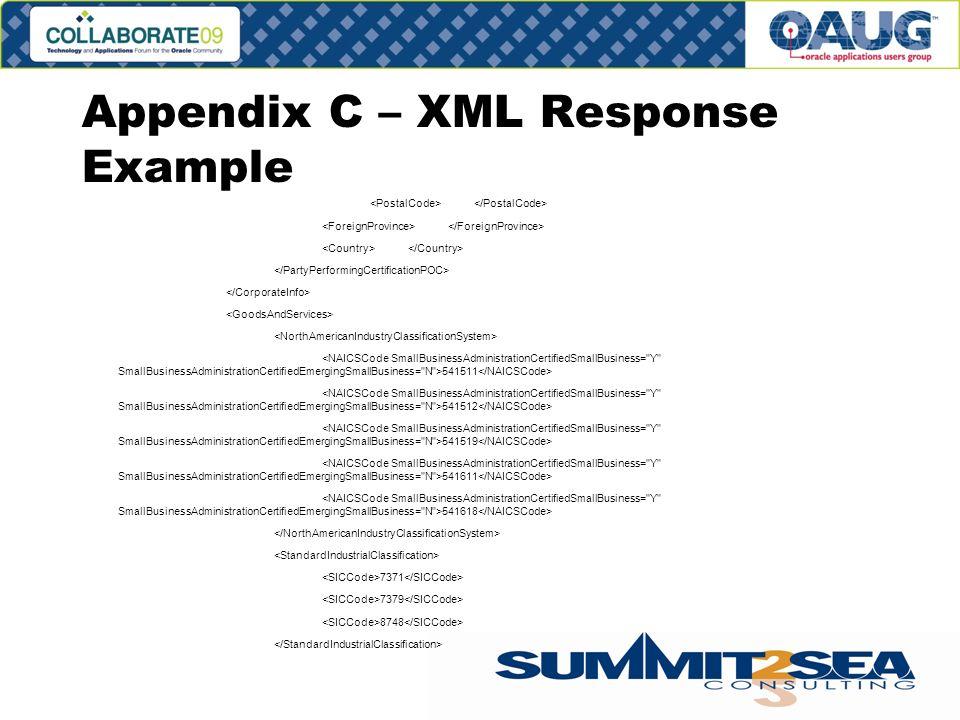 Appendix C – XML Response Example 541511 541512 541519 541611 541618 7371 7379 8748