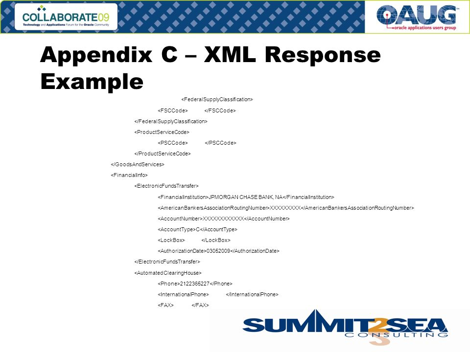 Appendix C – XML Response Example JPMORGAN CHASE BANK, NA XXXXXXXXX XXXXXXXXXXXX C 03052009 2122365227